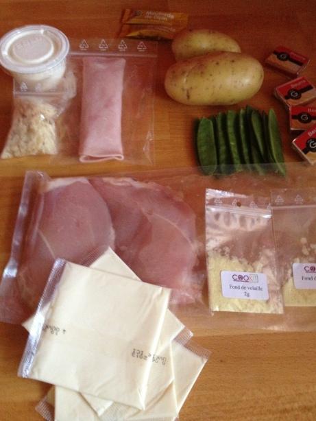 Les ingrédients du Kit pour le cordon-bleu.