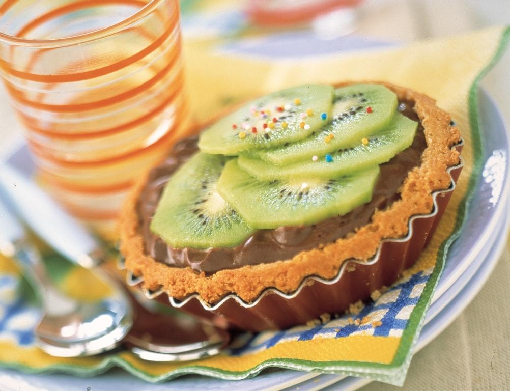 Tarte kiwi à la mousse au chocolat - © Y. Bagros – Bureau Interprofessionnel du Kiwi