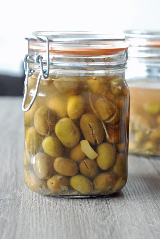 Olives vertes en saumure maison