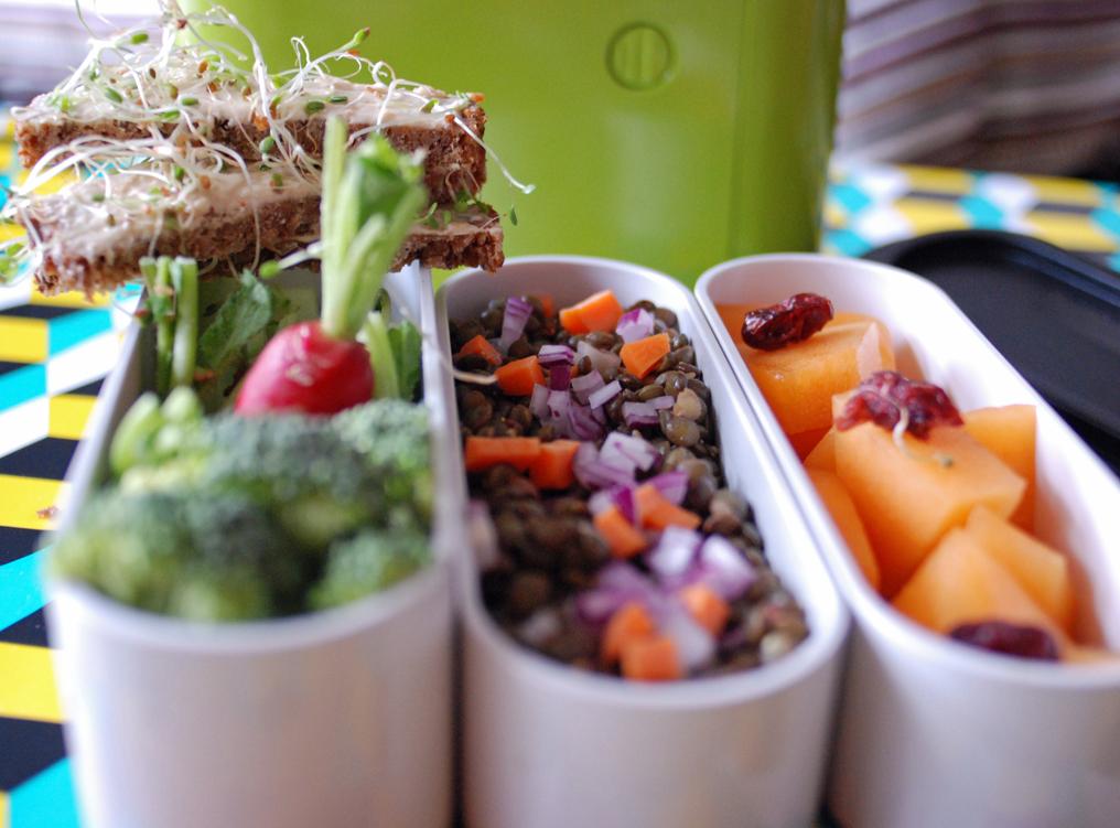 Salade de lentilles et mouillette de houmous aux graines germées pour bento végétarien.