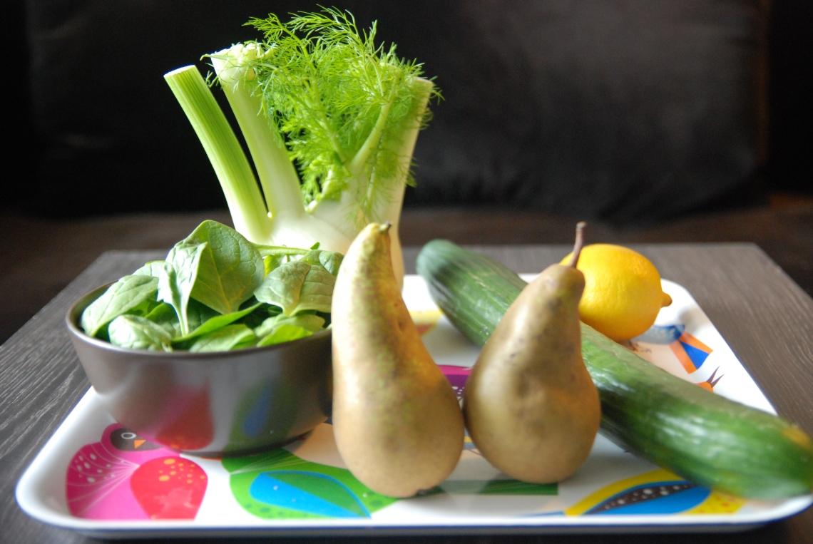 Les ingrédients de mon jus au fenouil-poire et épinards ©MyriamDarmoni