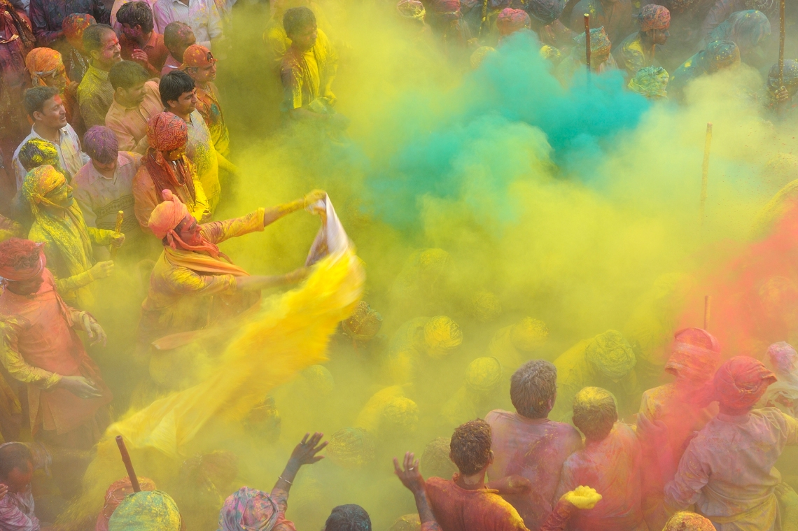 India, Uttar Pradesh, Holi festival, Colour and spring festival celebrating the love between Krishna and Radha.