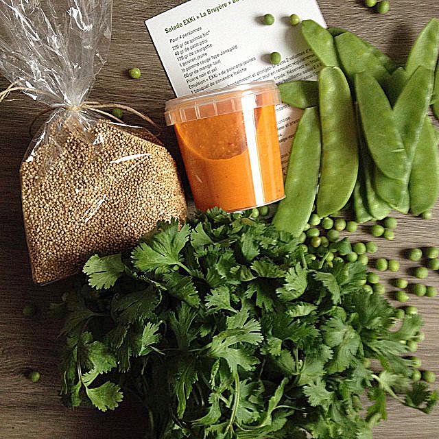 Les ingrédients et la recette livrés par Exki.