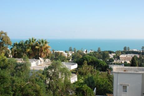 Carthage, vue sur le golfe depuis la terrasse de l'hôtel Villa Didon