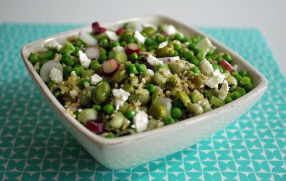 Taboulé vert de petits pois, févettes, quinoa et feta