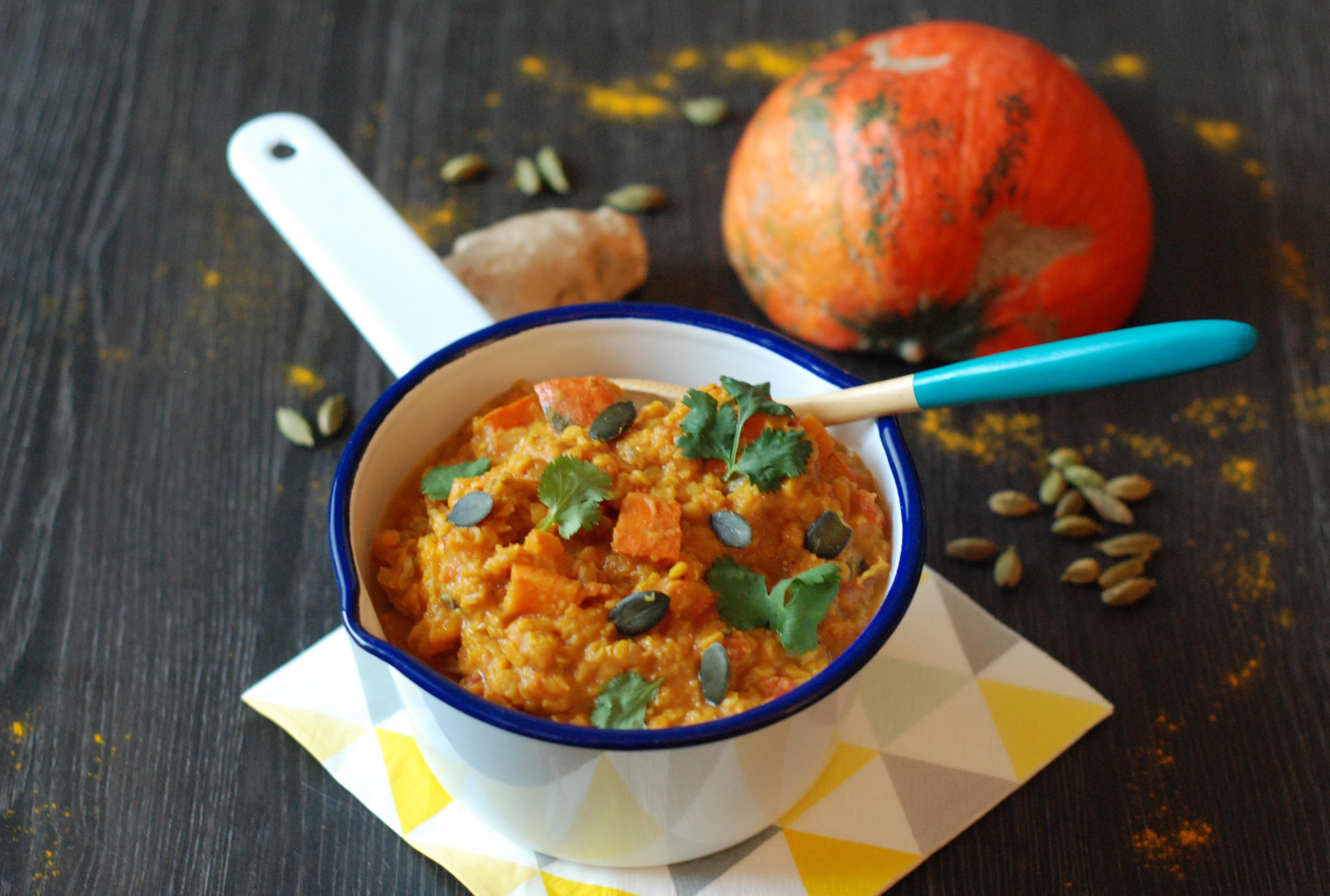 Curry de potimarron aux lentilles corail