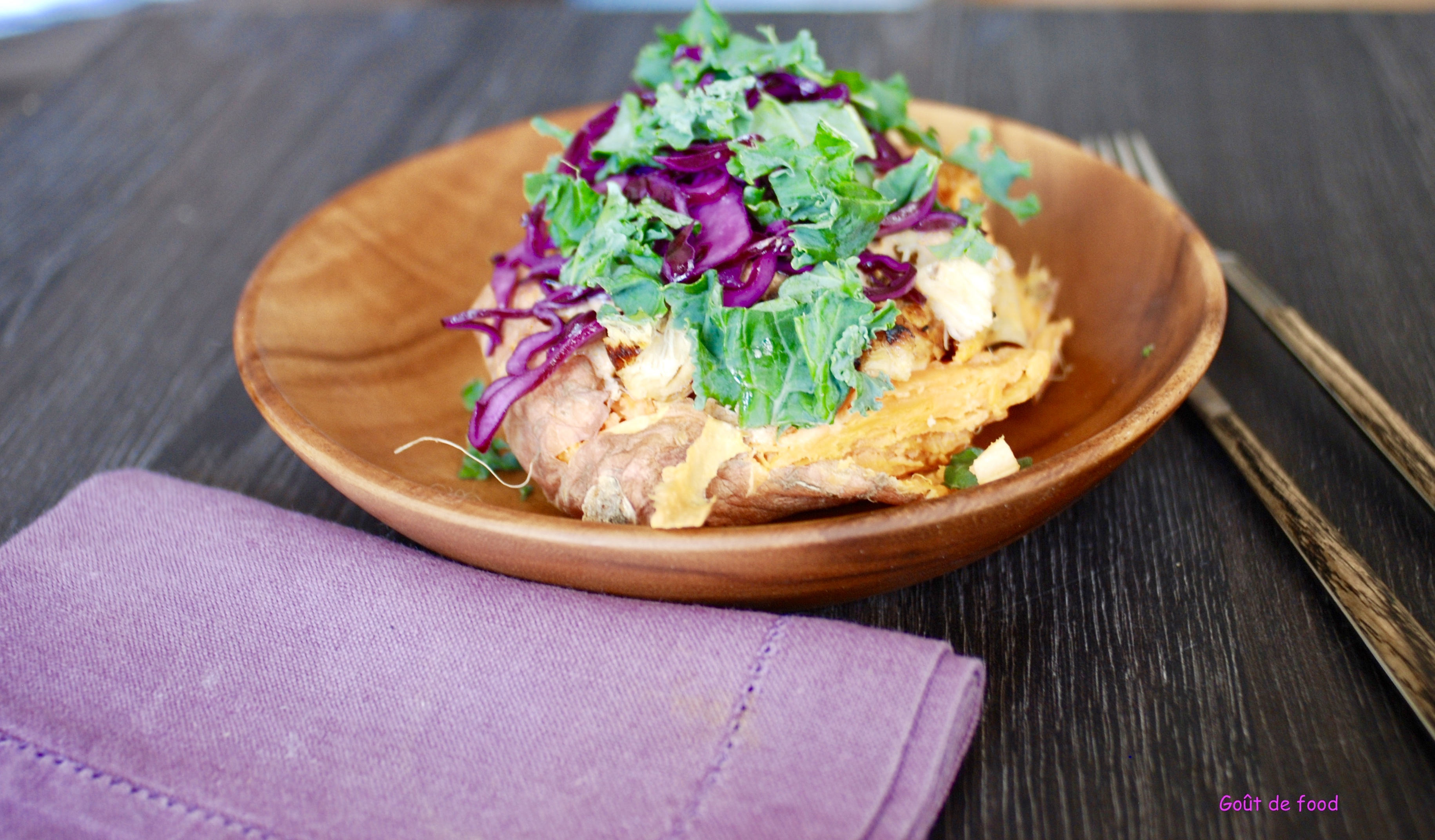 Thibaut Geoffray - Patate douce - poulet -chou rouge -chou kale